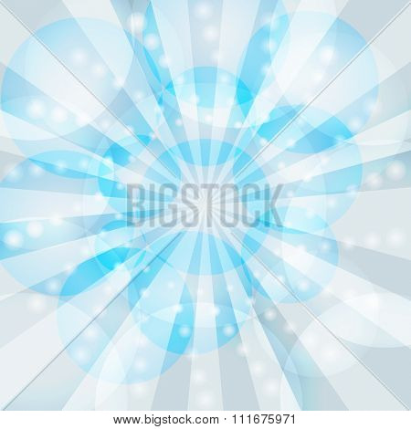 Blue winter rays burst background.