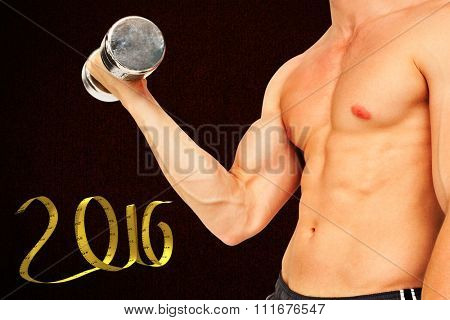 Strong man lifting dumbbell with no shirt on against black background