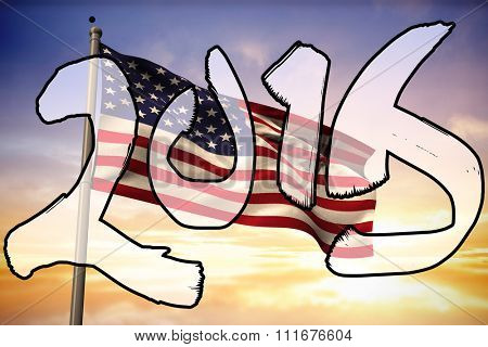 2015 in brush stroke against composite image of digitally generated united states national flag
