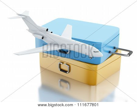 3d illustration. Travel Suitcase And Airplane.