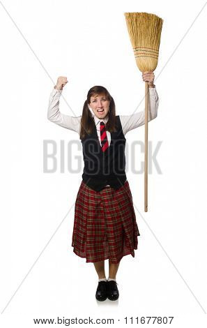 Funny girl with broom isolated on white