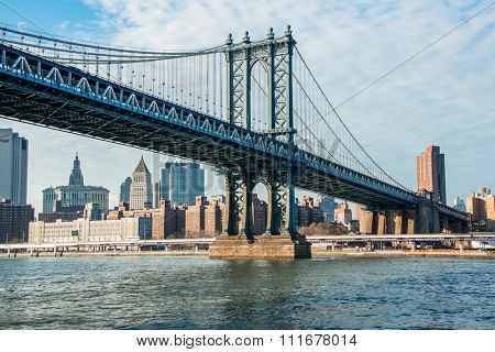 Manhattan bridge on summer day in New York