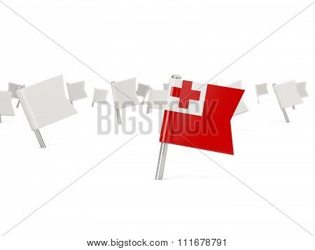 Square Pin With Flag Of Tonga