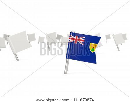 Square Pin With Flag Of Turks And Caicos Islands