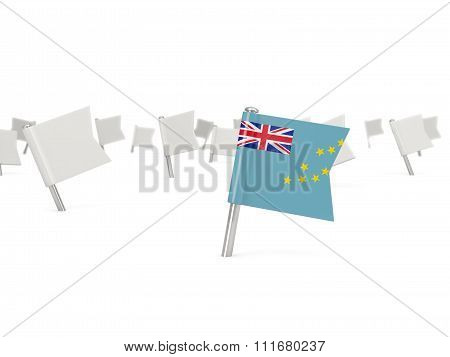 Square Pin With Flag Of Tuvalu