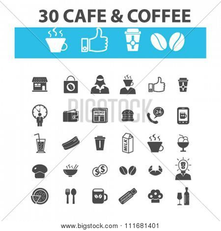 cafe logo, drinking coffee, cafe, cafeteria, icons, signs, set.
