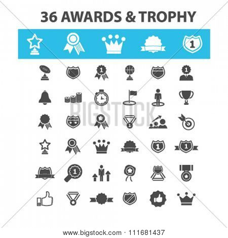 awards icons, award concept, award trophy, achievement, award ribbon, trophy, prize  icons, signs vector concept set for infographics, mobile, website, application