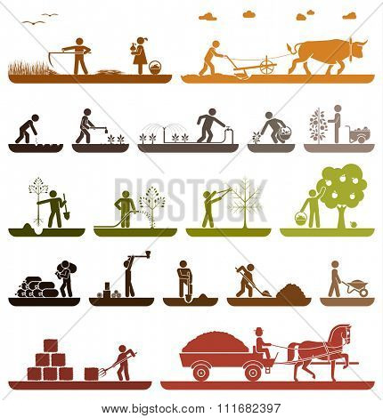 Set of pictogram icons presenting agricultural work and life on the farm. Mowing, plowing, planting, watering, transporting with horse drawn wagon. Agriculture icons. Organic production.