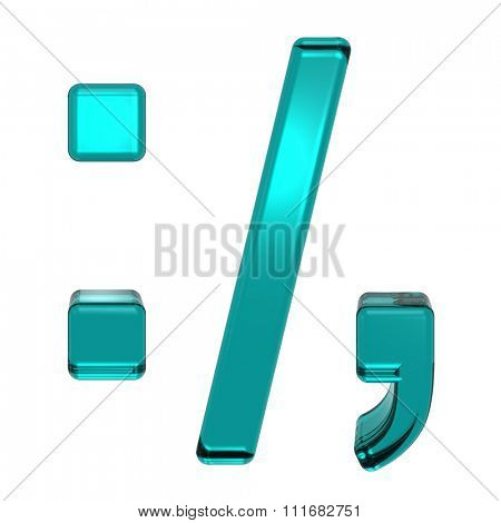 Colon, semicolon, period, comma from turquoise alphabet set, isolated on white. Computer generated 3D photo rendering.