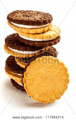 Image of cookies placed on white background