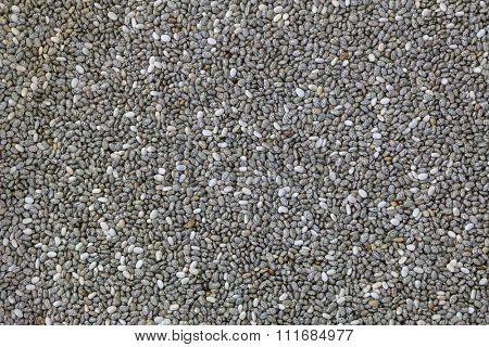 Background photo of dried Chia seeds (Salvia hispanica)