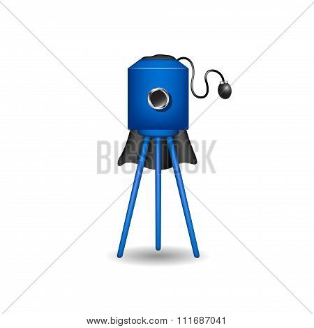 Vintage camera in blue design with shadow