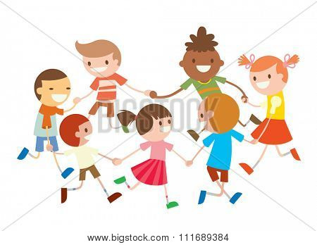 Children round dancing. Party dance in baby club illustration. Childhood, cartoon, fun and party. Kids dance around.  Roundelay baby dance party. Fun, smile, boys and girls. Greeting card kids icons
