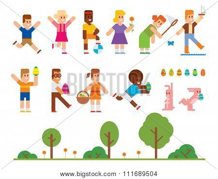 Spring Easter kids playing outdoor. Easter eggs, Easter bunny rabbit. Easter kids play vector icons. Easter children playing. Spring, love, childhood. Easter icons, kids isolated