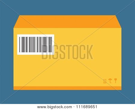 Move service yellow box pack vector illustration. Move box service. Craft yellow box delivery service. Box moving, close box. Move business, moving box, delivery box. Transport mail pack. Yellow pack