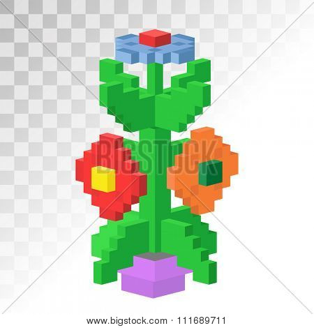 3d isometric vew flower stable pixel art vector icon. Flower bricks construction flower. Game art square flower garden isolated on white grid. Flower, nature, love. Beauty abstract flower 3d icon