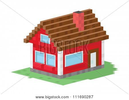 Family house building vector illustration. 3d house building isolated on white background. Cottage home house 3d building. House vector, house building. 3d isometric view building vector construction