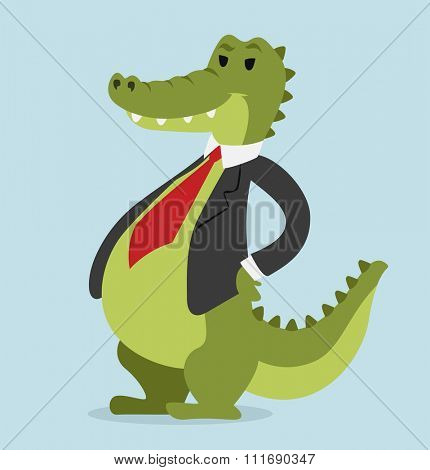 Crocodile business man vector portrait illustration on blue background. Cartoon crocodile business man.Selfie shot crocodile businessman. Vector crocodile isolated.Crocodile business man. Crocodile