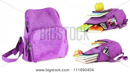 School backpacks, isolated on white