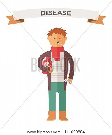 People ill vector illustration. Seasonal virus attack. People illness, people sick. People cold illustration. People unwell need medical help. Virus, health, fever people silhouette. People unwell