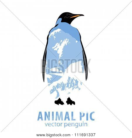 Double exposure illustration of penguin and mountains