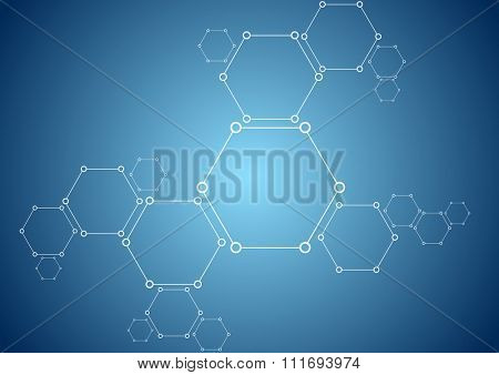 Molecular structure abstract tech background. Bright vector medical design