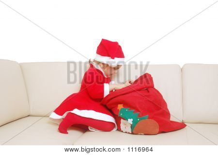 Little Santa With Red Sack Full Of Presents