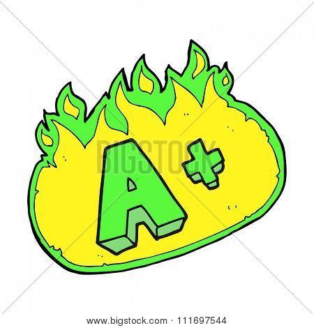 freehand drawn cartoon A grade symbol