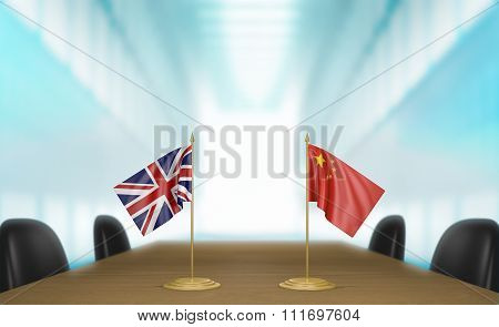 United Kingdom and China relations and trade deal talks 3D rendering