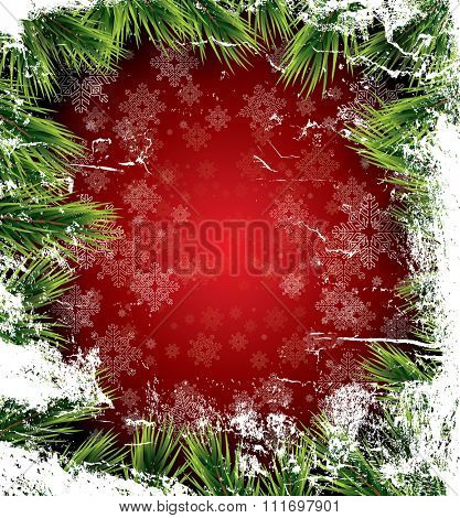 Christmas card with white snowflakes on red background, pine branch and icy texture. New Year invitation. Christmas party flyer template with copy space. Vector illustration