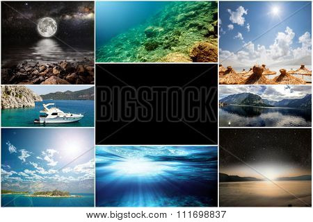 collage of photos from the sea travel. Backgrounds Collection