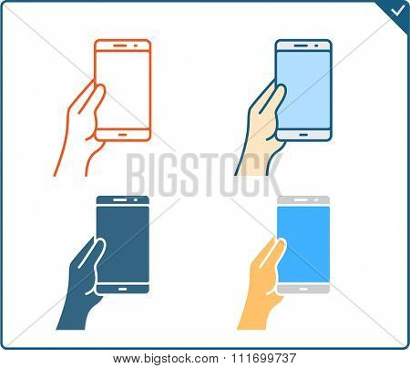 Touch screen gestures icon for smartphone. Vector icon for a mobile app user interface or manual. Smartphone gesture icon in four different styles