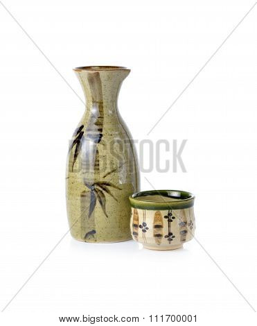 Sake Set On White Background