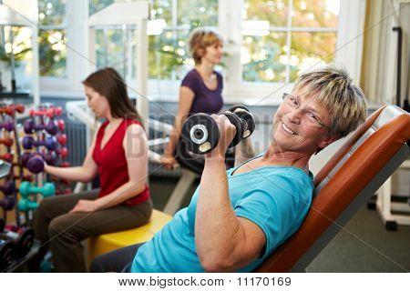 Senior Women Lifting Weights