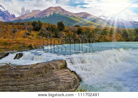 Scenic powerful and high-water waterfall