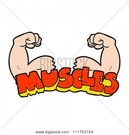 freehand drawn cartoon muscles symbol