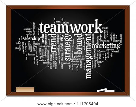 Vector concept or conceptual abstract word cloud on blackboard background as metaphor for business, trend, media, focus, market, value, product, advertising or customer. Also for corporate wordcloud