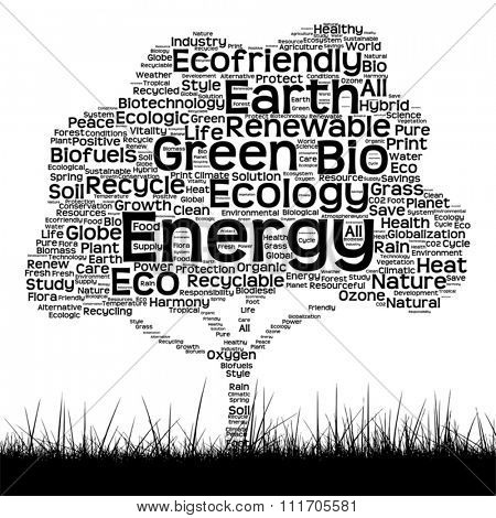 Vector concept conceptual black ecology text word cloud as tree and grass isolated on white background for nature, ecology, green, energy, natural, life, world, global, protect environmental recycling