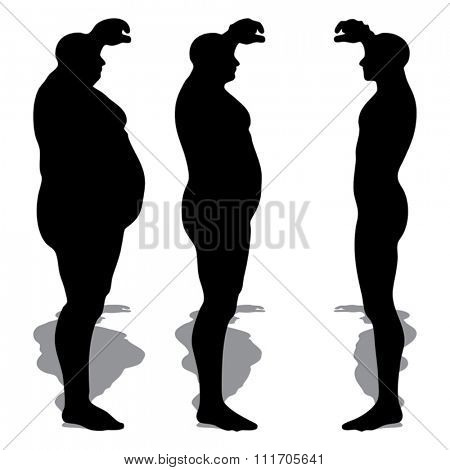 Vector concept 3D fat overweight vs slim fit diet with muscles young man silhouette isolated on white background   for weight loss, body, fitness, fatness, obesity, health, healthy, male dieting shape