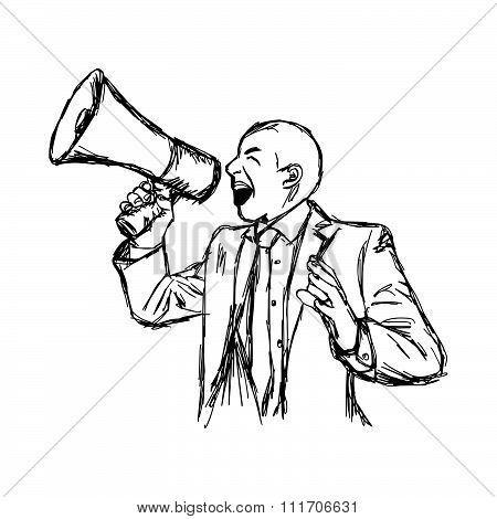 Illustration Vector Hand Drawn Doodle Businessman Shouting Through Megaphone Isolated.