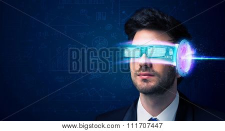 Man from future with high tech smartphone glasses concept