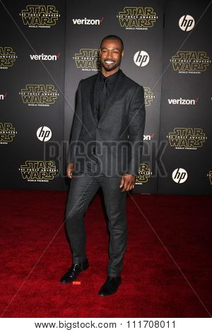 LOS ANGELES - DEC 14:  Isaiah Mustafa at the Star Wars: The Force Awakens World Premiere at the Hollywood & Highland on December 14, 2015 in Los Angeles, CA
