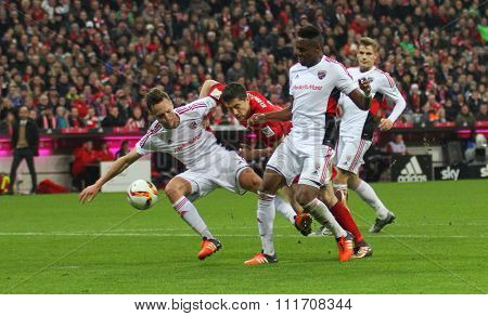 MUNICH, GERMANY - DECEMBER 12 2015:  during the Bundesliga match between Bayern Muenchen and FC Ingolstadt, on December 12, 2015 in Munich, Germany.