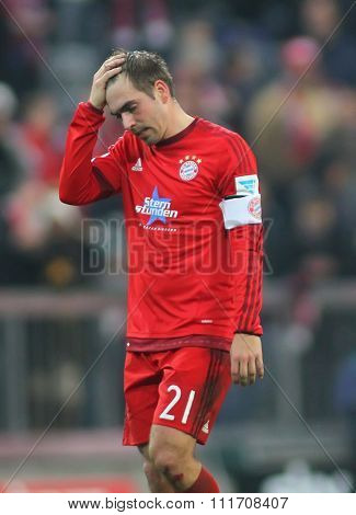 MUNICH, GERMANY - DECEMBER 12 2015: Philipp Lahm of Bayern Munich during the Bundesliga match between Bayern Muenchen and FC Ingolstadt, on December 12, 2015 in Munich, Germany.
