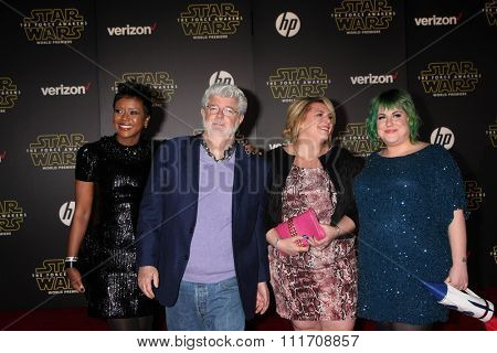 LOS ANGELES - DEC 14:  Mellody Hobson, George Lucas, daughters at the Star Wars: The Force Awakens World Premiere at the Hollywood & Highland on December 14, 2015 in Los Angeles, CA