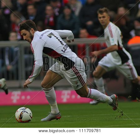 MUNICH, GERMANY - DECEMBER 12 2015: Matthew Leckie of FC Ingolstadt  during the Bundesliga match between Bayern Muenchen and FC Ingolstadt, on December 12, 2015 in Munich, Germany.