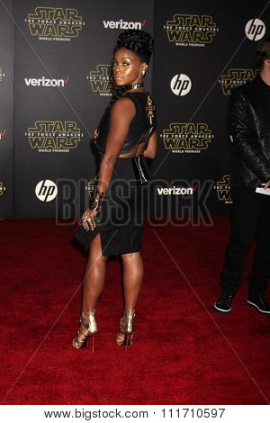 LOS ANGELES - DEC 14:  Janelle Monae at the Star Wars: The Force Awakens World Premiere at the Hollywood & Highland on December 14, 2015 in Los Angeles, CA