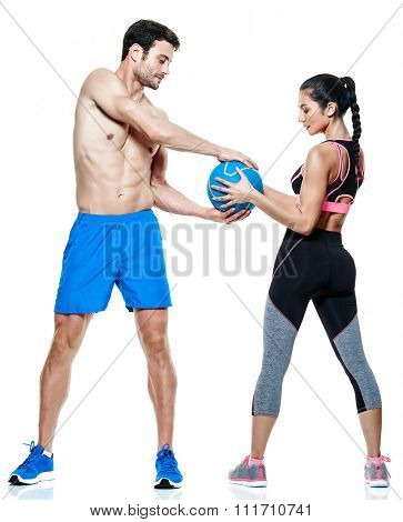 one caucasian couple man and woman exercising fitness exercises isolated on white background