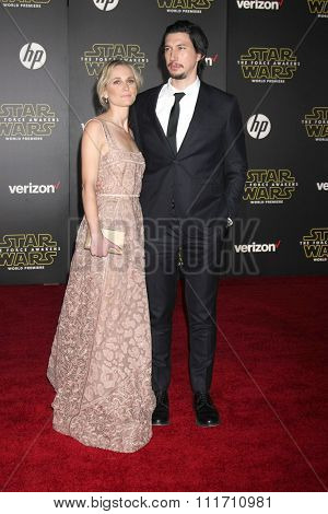 LOS ANGELES - DEC 14:  Joanne Tucker, Adam Driver at the Star Wars: The Force Awakens World Premiere at the Hollywood & Highland on December 14, 2015 in Los Angeles, CA
