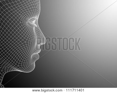 Concept 3D wireframe young human female or woman face or head on white black background metaphor for technology, cyborg, digital, virtual, avatar, model, science, fiction, future, mesh or abstract